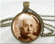 Einstein Picture Pendant Charm Theory Of Relativity Science Pendant Quantum Physics Geek Jewelry Sepia