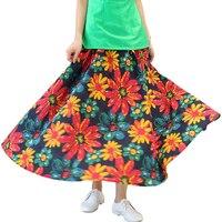 足首の長さプリント花プリーツフレアスカート中国伝統的なスタイル弾性ウエストスカート熱い販売春秋の女