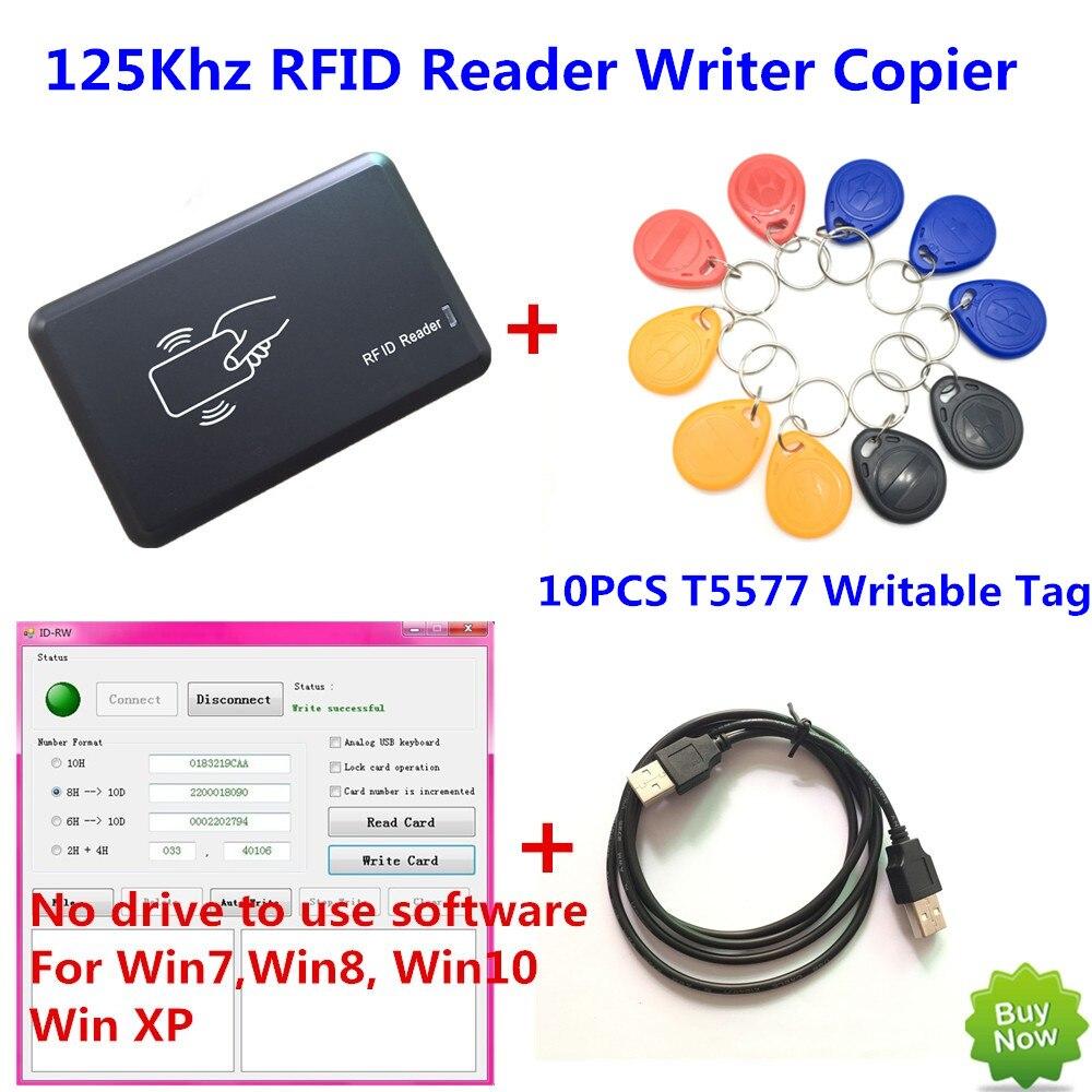 125 KHZ Lecteur RFID Écrivain Copieur Duplicater Programmeur + 10 PCS EM4305/T5557 Inscriptible Tags + DÉMO Aucun pilote logiciel