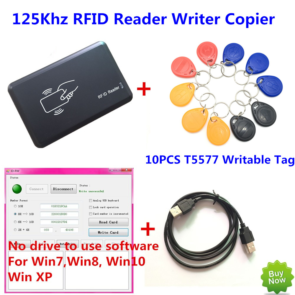 125KHZ RFID Reader Writer Copier Duplicater Programmer + 10 PCS EM4305/T5557 Writable Tags+ DEMO No driver Software usb rfid uhf reader and writer 860mhz 960mhz with complete english sdk demo software user manual source code