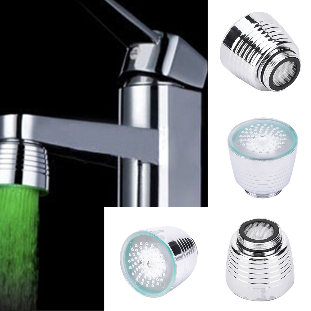 360° Rotation Glow LED Faucet Temperature Sensor Light Water Tap