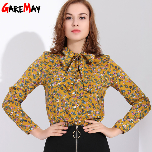 dc2967d6545 Garemay Long Sleeve Print Chiffon Blouse Women Spring Floral Tops Blouse  Store Bow Female Blouses Flower Shirts Woman Clothes