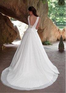 Image 3 - Fabulous Tulle V neck Neckline A line Wedding Dresses with Lace Appliques vestido de novia playa Bridal Gowns