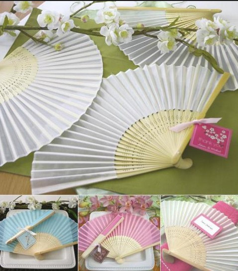 40pcs /lot Plain solid color Silk Bamboo Fan Folding Hand fan Wedding - Festive and Party Supplies
