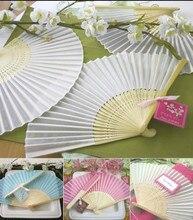 40pcs /lot Plain solid color Silk Bamboo Fan Folding Hand fan Wedding Favor party gift H110w