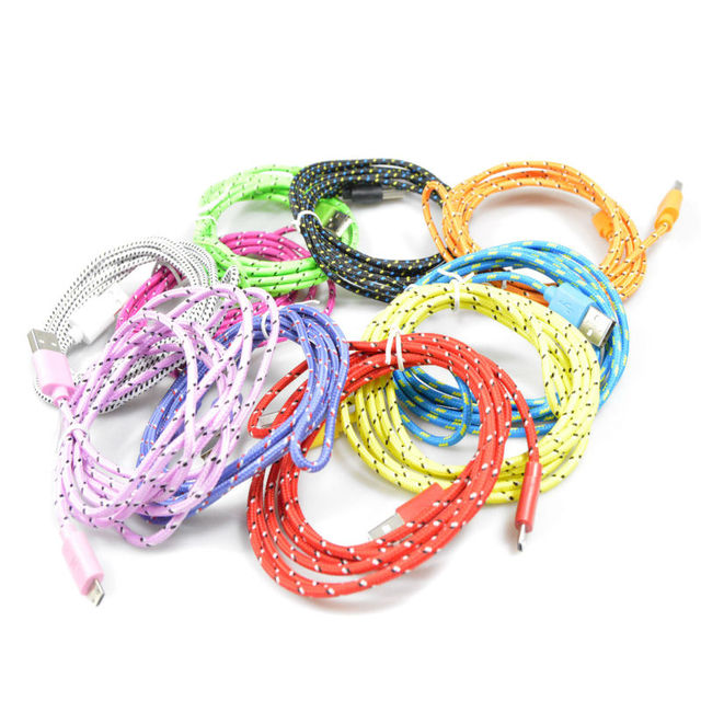 1M/2M/3M Braided Wire Micro USB Cable 3ft Sync Nylon Woven Charger Cords For Samsung Galaxy S3 S4 S6 for Blackberry for SONY