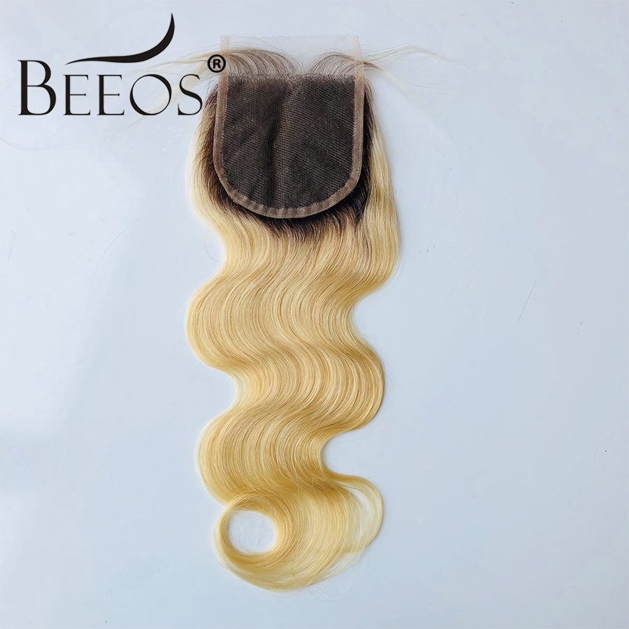 Beeos Brazilian Remy Human Hair Ombre T4/613 Blonde 4*4 Lace Closure With Baby Hair Body Wave Swiss Lace Free Part