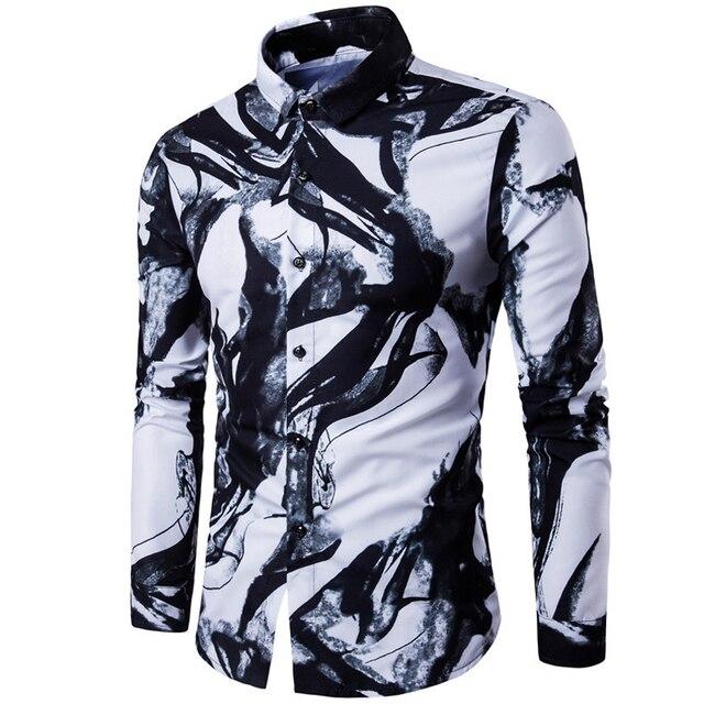 new arrival shirts men 2018 digital printing long sleeve casual