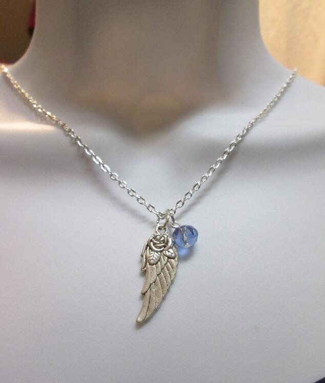 Fashion Jewelry Guardian Angel Wing Blue Crystal Amulet Wicca Pagan Charm Collars Chain Necklace Jewelry For Women Gift 1Pcs/lot