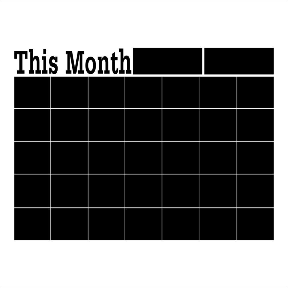 Blackboard Wall Sticker Monthly Planner Calendar Black board 43*58 CM Removable For Home Office School Black Board Sticker