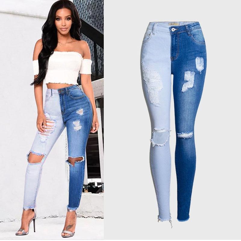 Double color Bule Stretch   Jeans   Women Hole Ripped High Wais   jeans   Elasticity Skinny pencil pants women's   Jeans