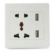 Dual USB Порт Розетка Панели 1А Зарядки Гнездо Адаптера Розетки (1A Резного белого)