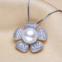 Genuine Top level S925 Sterling silver 10 11mm Natural pearl Pendant necklaces pendants For women Free shipping