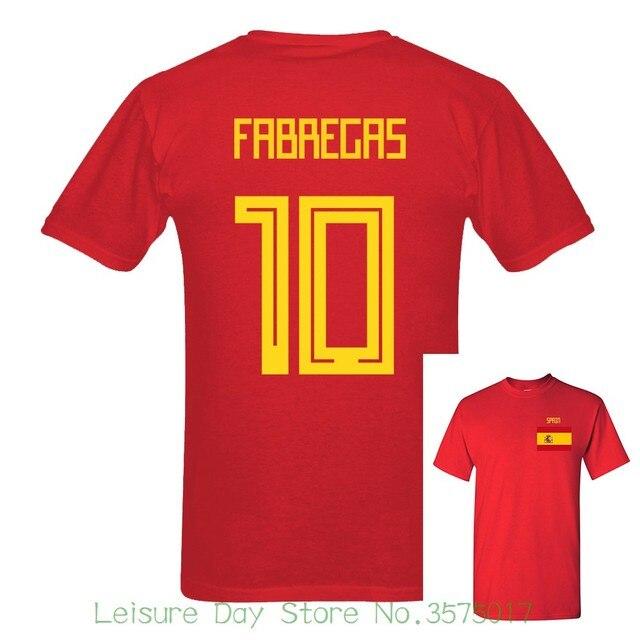 Fãs Espanha Fabregas Número 10 2018 Mais Novo Dos Homens Jogador de Futebol  Curto manga Tee 68de96d16f4c3