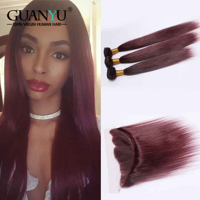 Guanyuhair Pre-Colored 3Pcs Burgundy Hair Weave Bundles With Frontal Closure 13X4 Brazilian Remy Human Hair Extensions #99J