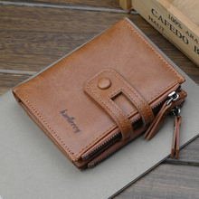 Men Wallet 100% Cowhide Leather Card Holder Short Wallet Coin Pocket P