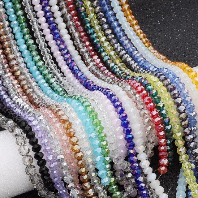 Gros 2/3/4/6/8mm Toupie Cristal Perles AB Couleur Facetté Rond En Verre perles pour La Fabrication de Bijoux Bracelet Accessoires