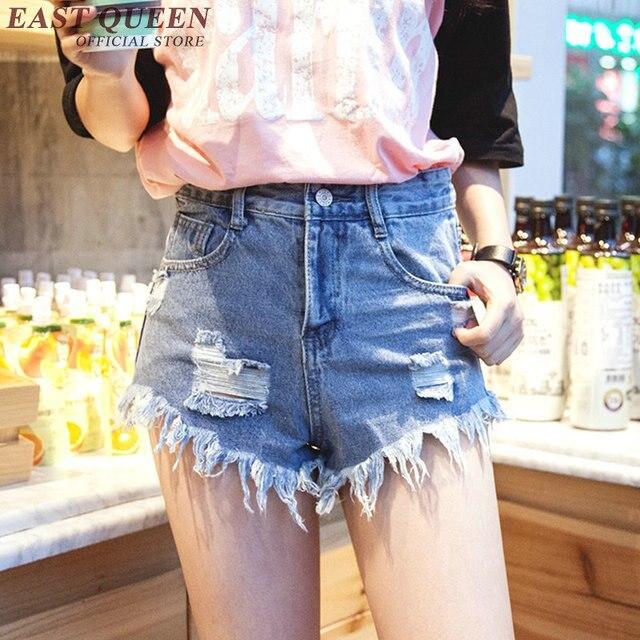 dd6797b8f Pantalones cortos de mezclilla femenina mujeres ripped shorts Denim azul pantalones  cortos para adolescentes jeans pantalones