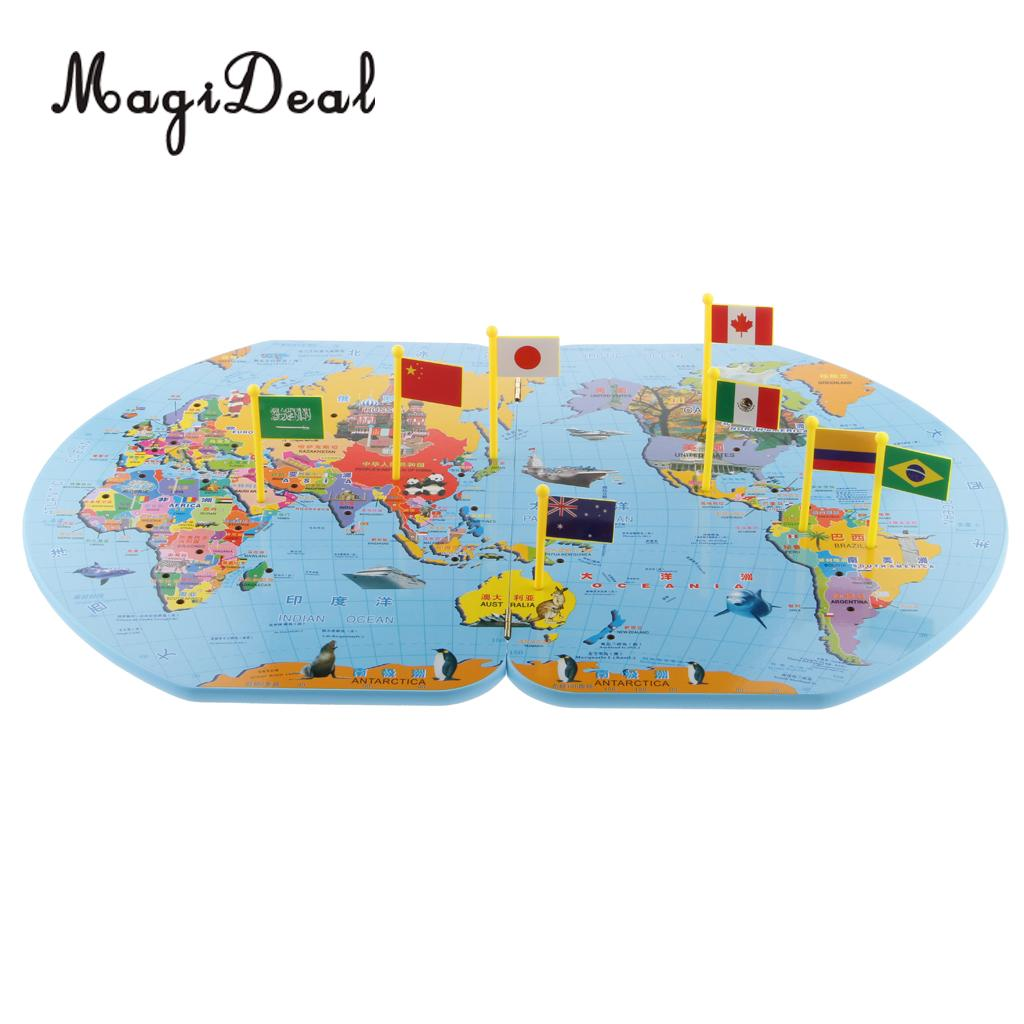 Kinder Puzzel Magazine.Us 23 06 28 Off Magideal Wooden World Map And 36 Flags Matching Puzzle Geography For Kindergarten School Children Kids Educational Toy Gift In