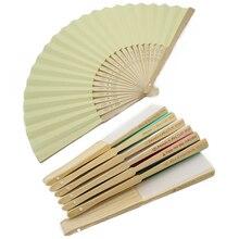 50Pcs Gepersonaliseerde Gegraveerde Vouwen Hand Papier Fan Fold Vintage Fans outdoor Wedding Party Baby Shower Gunsten Organza tas Kiezen
