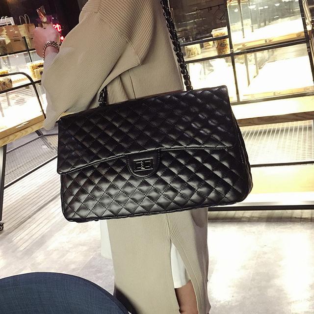 Big Bag For Women 2018 Large Capacity PU Leather Handbag Purse Black Quilted Shoulder Crossbody Bag Chain Flap Travel Satchel