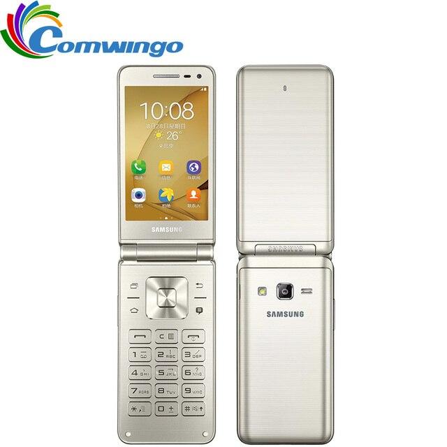 "Original Samsung Galaxy Folder G1600 (2016) Dual SIM LTE Cellphone Quard Core 480 x 800 1.4GHz 16GB ROM 2GB RAM 3.8"" inch Phone"