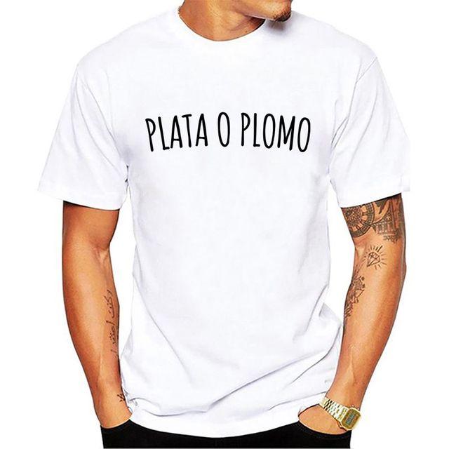 87632fc1e52 PABLO ESCOBAR T SHIRT PLATA O PLOMO COLOMBIA GANGSTER MAFIA Summer Style  Hip Hop Men Tt shirt Tops Interesting