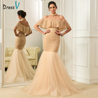 Dressv Lace Champagne Mermaid Wedding Dresses Ruffles Sequins Boat Neck Sweep Train Off The Shoulder Zipper