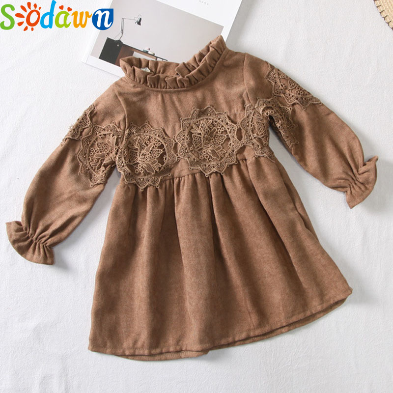 Sodawn 2017 Autumn New Children Clothing Girl Clothes Lace Puff Sleeves Fashion Sweet Girls Princess Dress Baby Girls Clohtes