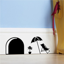 cartoon mouse rats hole for kids room wall Stickers decals decorative stickers Tree Flower murals