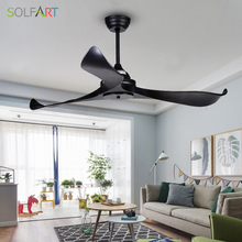 SOLFART ceiling fan dining chandelier modern room with remote control safe and mute Black leaves slf9103