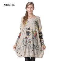 ARCSINX Cute Sweater Women Plus Size Oversize Long Sweater Female 10XL 9XL 8XL 7XL 6XL 5XL 4XL 3XL Thin Casual Pullover Women