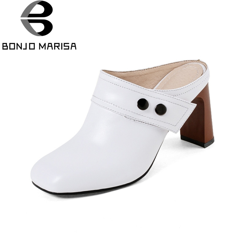 BONJOMARISA 2018 Summer Brand Elegant Cow Leather Women Mules slip-on High Heels Pumps Shoes Woman Sewing Lady Casual Shoe bonjomarisa 2018 summer brand sexy women mules print patent leather pumps crystal high heels party wedding shoes woman