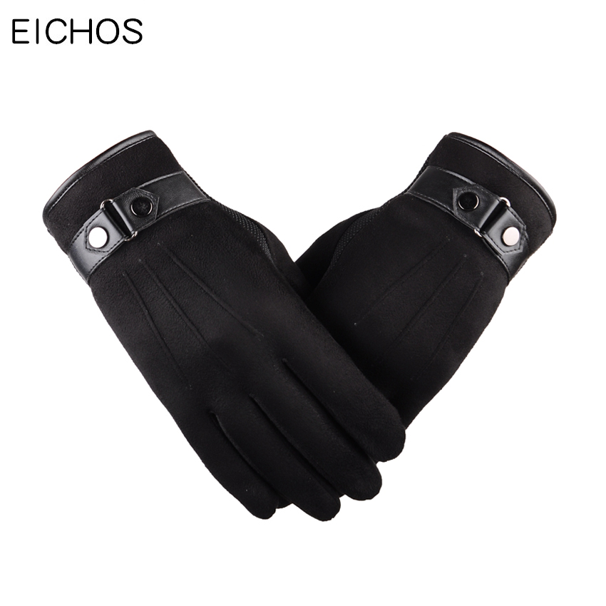 EICHOS 2018 New Cashmere Gloves Men Velvet Thicken Winter Touch Screen Gloves For Iphone Mobile Phone Outdoor Driving Gloves