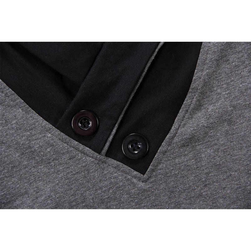 חדש בתוספת גודל קיץ Mens חולצות אופנה 2019 Slim קצר שרוול טלאים V צוואר כותנה שחור T חולצה גברים כפתור חולצות & Tees