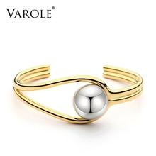 VAROLE כפול קו גדול כדור קאף צמיד צמיד לנשים Manchette זהב צבע צמידי נירוסטה מתכת צמיד Pulseiras