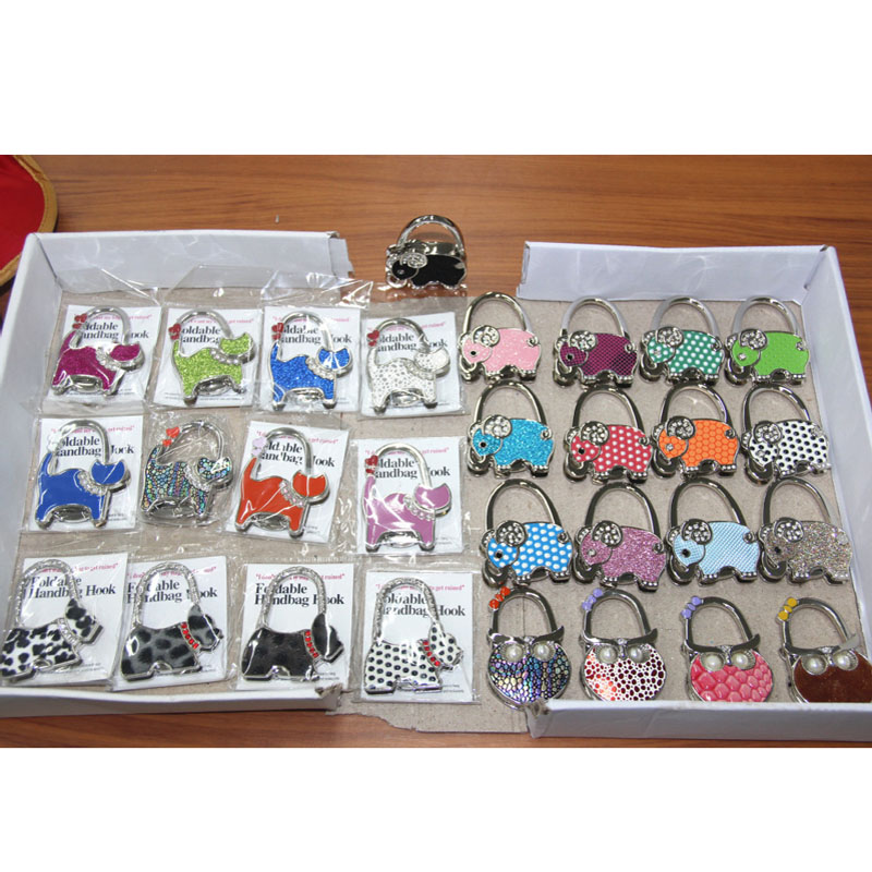 25 PCS Mixed 17styles Animals Metal Foldable Bag Hanger Table Purse Hook Bag HolderBag Hanger Table Hook Cat OWL Dog lily flowers pattern metal foldable purse handbag hook table bag holder