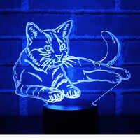 3D LED ночник оповещение Кот с 7 видов цветов свет для украшения дома лампа удивительная визуализация Оптическая иллюзия