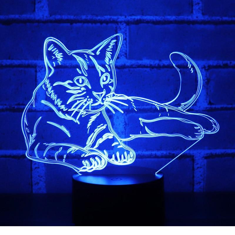 3D свет в ночь оповещения кошка с 7 цветов свет для украшения дома лампы удивительный визуализации Оптические иллюзии Awesome