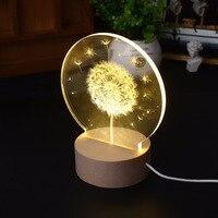 Creative 3D Moon Light Dandelion Bedside Decorative Night Light and Popular Festival Gift
