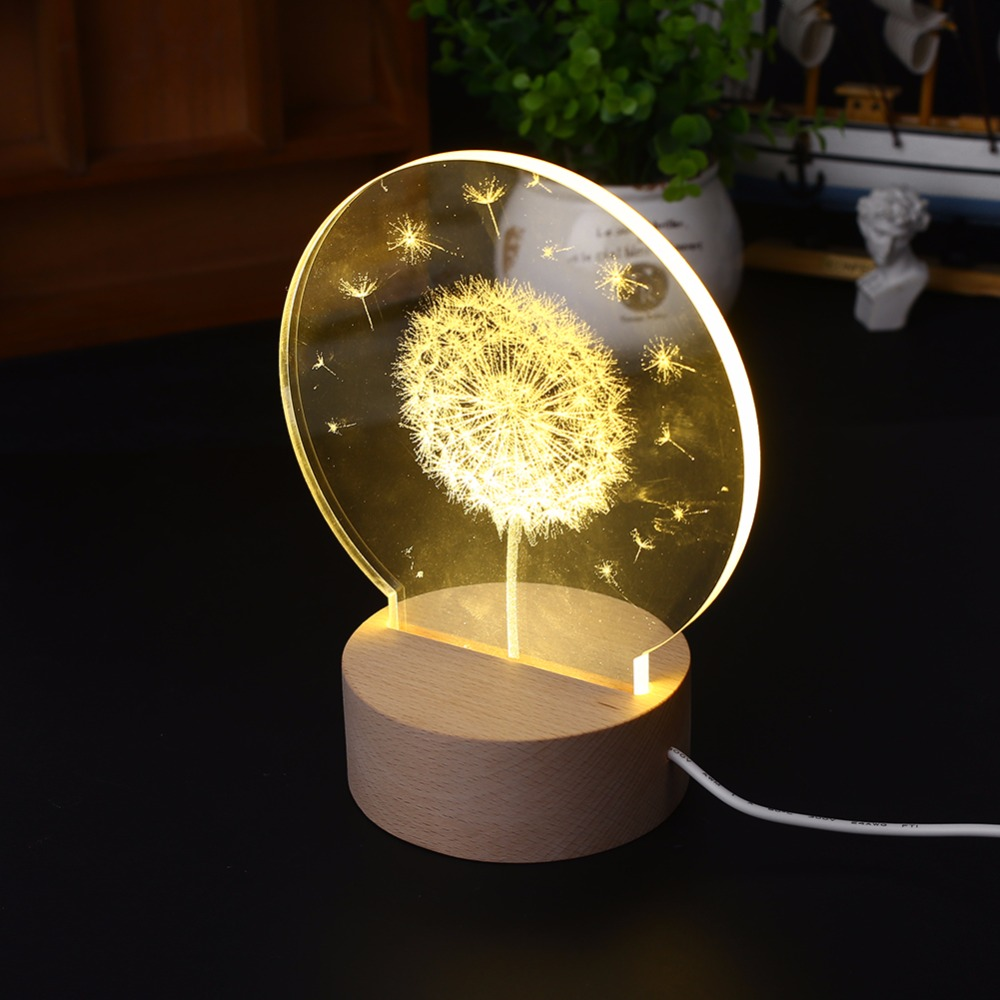 Creative 3D Moon Light Dandelion Bedside Decorative Night Light and Popular Festival Gift
