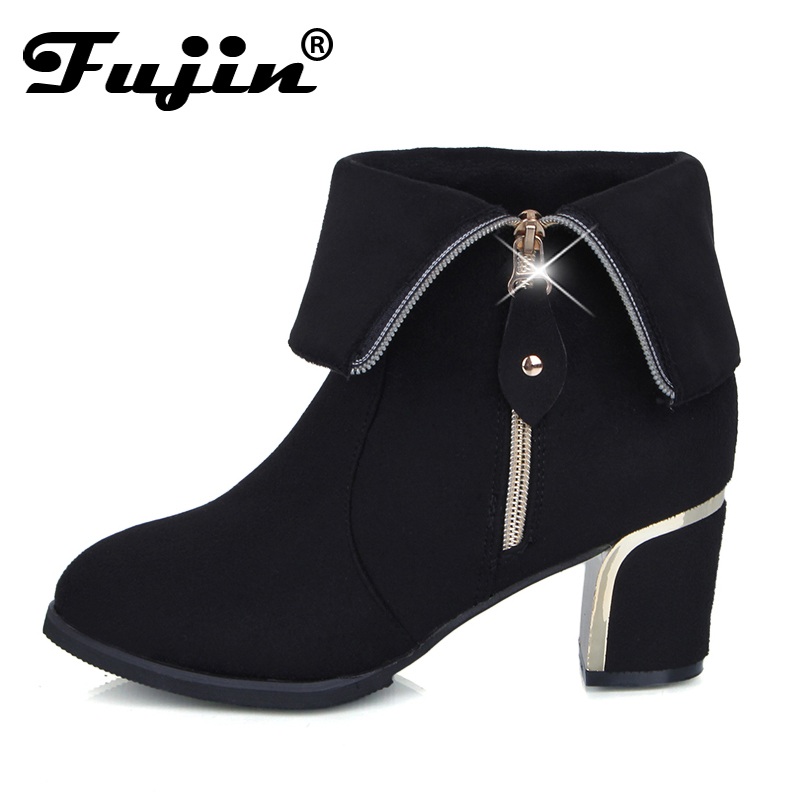 Fuijn Hot Autumn Winter Women Boots Square Heel Suede Leather Ankle Boots Solid European Ladies Shoes Big Size 35-42 Booties цена 2017