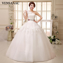 VENSANAC Flowers Appliques One Shoulder Ball Gown Lace Pleat Wedding Dresses 2018 Crystal Sash Backless Bridal Gowns