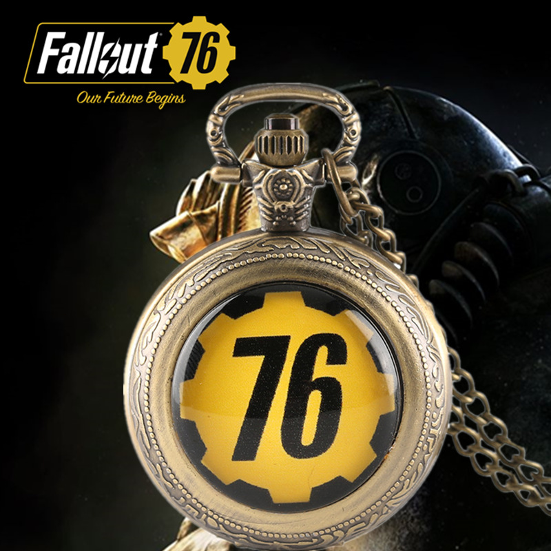все цены на Fallout 76 Games Theme Quartz Pocket Watch Full Hunter Gifts for fallout 4 Game Fans Fashion Wathes Men Necklace with Bag