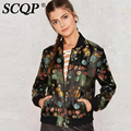 Vintage Black Embroidered Bomber Jacket Women Long Sleeve Stand Collar Ladies Jacket Women 2016 New Fashion Women Basic Jacket
