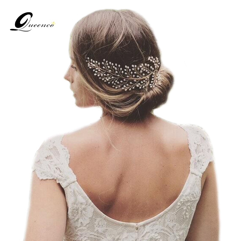 New Bride Hair Accessories Handmade Pearl Hair Combs Tiara Pearls Wedding Hair Jewelry Party Pom Bridal