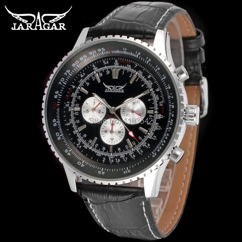 Jargar JAG6907M3S1 new men Automatic fashion dress watch silver color wristwatch with black leather band  free shipping jargar jag6905m3s1 new men automatic fashion dress watch silver color wristwatch with black leather band free shipping