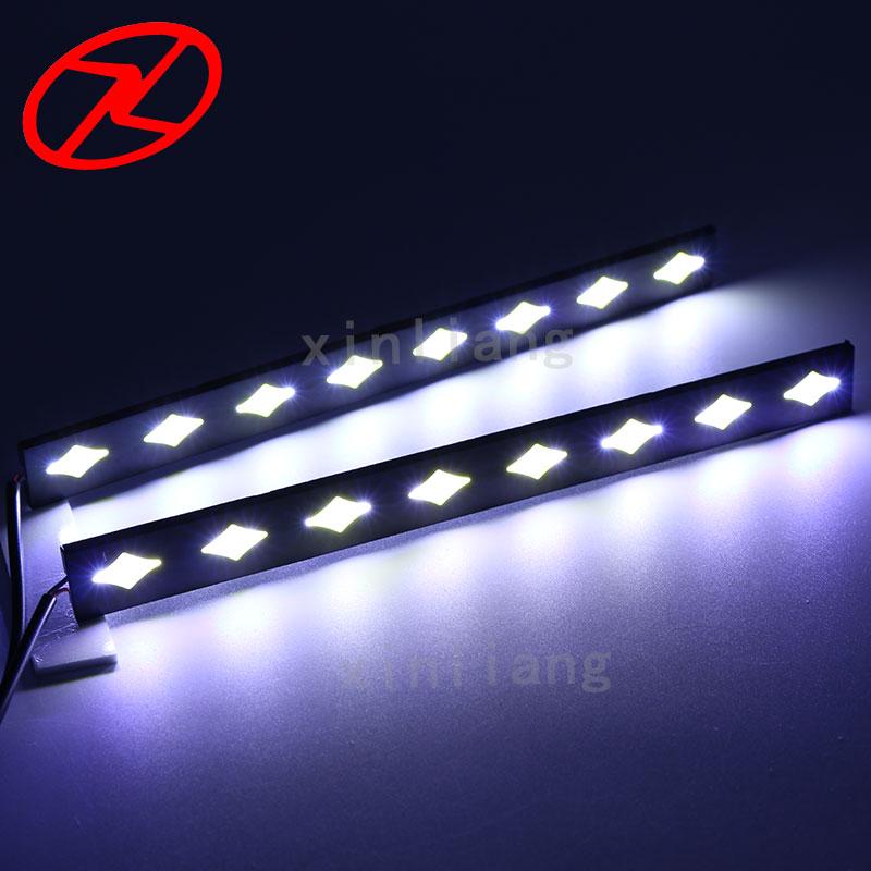 2PCS COB diketuai DRL kalis air siang berjalan cahaya untuk lampu - Lampu kereta - Foto 2