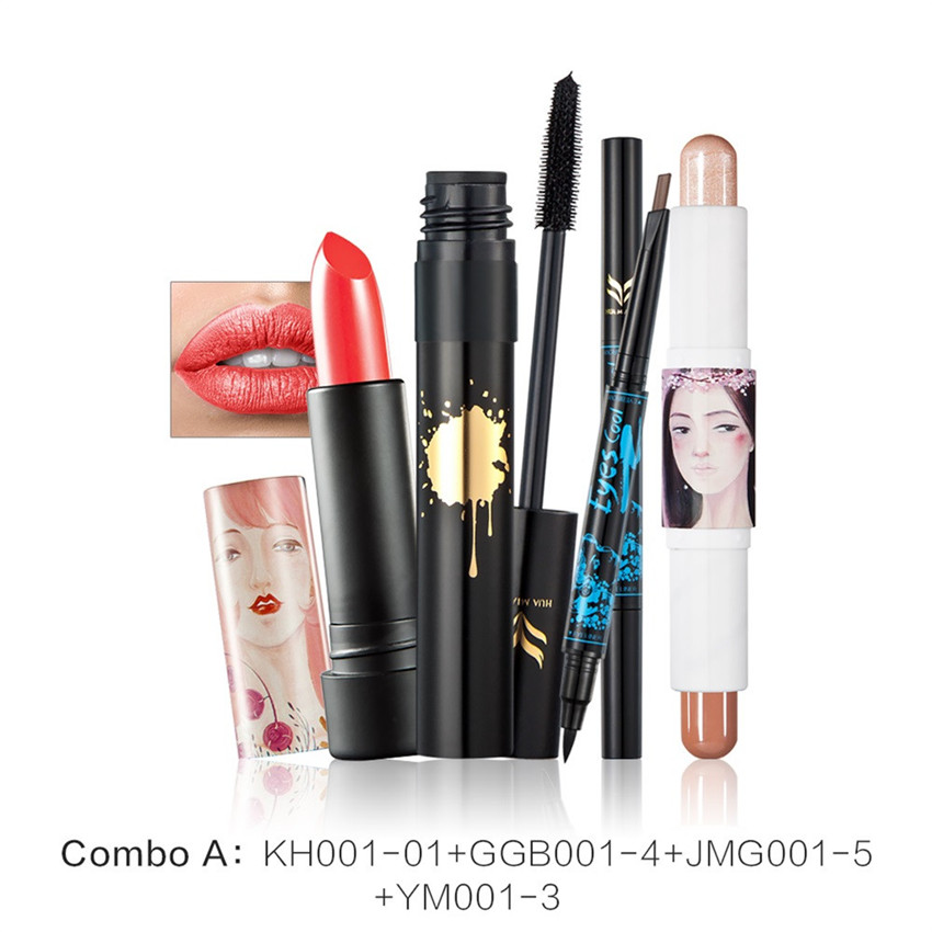 2017 4 in 1 Makeup Set Concealer Repair Double Brow Eyeliner Pencil Mascara Lipstick  professional make-up kit set #1222