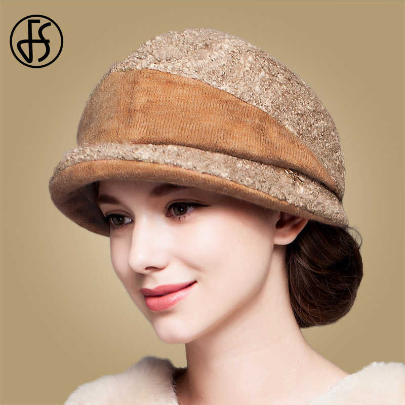 43c25f79a08 FS Winter Warm Woolen Women Caps Autumn Fashion Hat Woman Dress Cap  Fascinator Vintage Elegant Hats